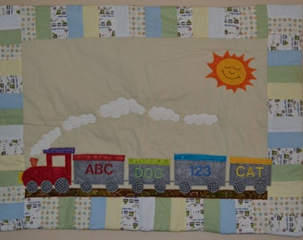 All Aboard Train Baby Quilt
