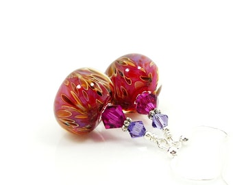 Pink Earrings, Boro Earrings, Lampwork Earrings, Glass Bead Earrings, Beaded Earrings, Beadwork Earrings, Glass Earrings