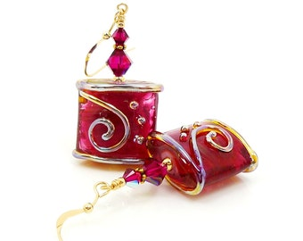 Hot Pink Earrings, Lampwork Earrings, Scroll Earrings, Glass Bead Earrings, Beadwork Earrings, Glass Earrings, Lampwork Jewelry