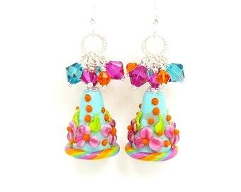 Colorful Earrings, Cone Earrings, Floral Earrings, Lampwork Earrings, Beadwork Earrings, Beaded Earrings, Glass Earrings, Dangle Earrings