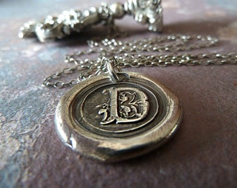Personalized Necklace. Monogram Initial Fine Silver Wax Seal Necklace. Personalized Jewelry. Everyday Jewelry. Initial Jewelry