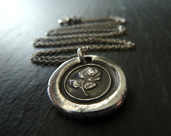 English Rose. Wax Seal Necklace. Wax Seal Jewelry in Recycled Fine Silver. Great Gift for Bridesmaids