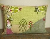 Gathering Acorns Pillow  - Decorative Pillow - Woodland - Winter Decor