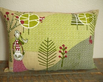 Christmas Pillow - Gathering Acorns Pillow  - Decorative Pillow - Woodland theme - Home Decor - Nursery Decor