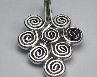 Stunning Large Fine Silver Spiral Pendant Karen Hill Tribe Pendant 33mm HT-199