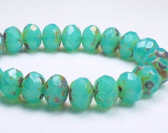 Aqua Green Picasso Czech Glass Beads 6 x 8mm Faceted Rondelle Beads 10 Pcs. RON8-638