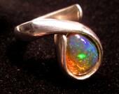 Opal Nebula Silver Ring, Genuine Gemstone, Ethiopian Wello Opal, Size 7