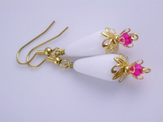 White Teardrop Dangle with Hot Pink Crystals and Gold Leaf Bead Caps