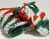 Handmade Cotton Wash Cloth and Soap Saver Set  Peppermint