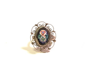 1970s Porcelain Rose Floral Ring Vintage 70s Adjustable Size
