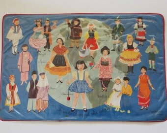 "Midcentury ""Around the World"" Placemat by Merrimat"