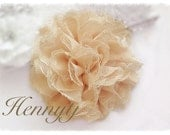 1 pc CHAMPAGNE Nude Large Shabby Chic Frayed Chiffon Mesh and Lace Rose Fabric Flower with FLAT BACK.