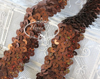 1 Yard BROWN Shimmering Sequin Stretch Elastic Band Trim 1.25 inch wide - DIY Hair Accessories -Elastic Hair Ties Headband Supplies