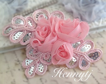 "NEW: ""PINK"" Chiffon and Sequins Leaf Polyester Fabric Rose Appliques. Hair accessories"