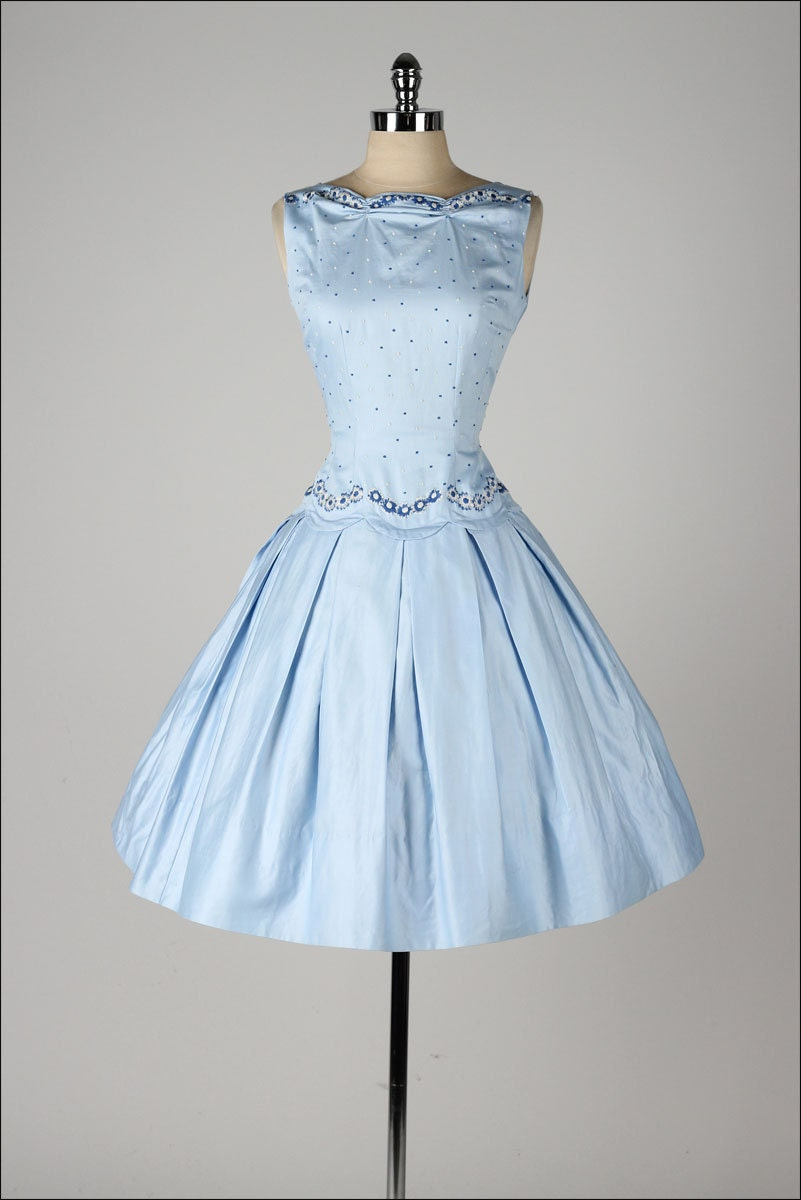 vintage 1950s dress teena paige dead stock light blue