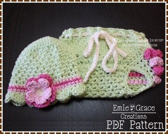 Crochet Flower Hat and Ruffle Diaper Cover Patterns, EMERSYN and KENNEDY - pdf 225, 710