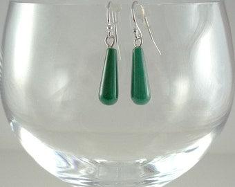 Malachite Earrings Malachite Gemstone Earrings Green Malachite Earrings Malachite Silver Earrings