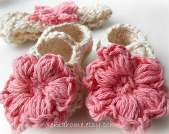100% Cotton Headband and Booties / Maryjanes in Ecru and Soft Pink 0-3 Months READY TO SHIP
