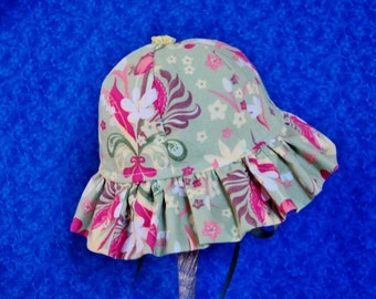 Toddler Baby Sun Hat Sage Green and Coral