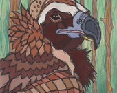 Original Colorful Cinereous Vulture Acrylic Painting on Poplar Wood