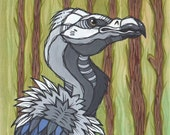 Original White Faced Vulture Acrylic Painting on Poplar Wood