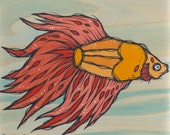 Original Orange Red Beta Fish Acrylic Painting on Poplar Wood
