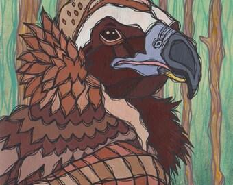 Original Colorful Cinereous Vulture Acrylic Painting on Poplar Wood