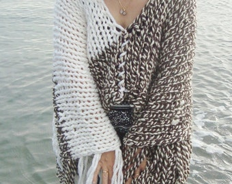 Hippie clothing plus size Loose Knit Poncho Women Ponchos Hand Knitted Poncho in Cream Brown Womens Gift for Her Gift for Womens