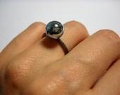 Custom Order  Reserved  For Jenn  Sterling Silver and Metallic Glass Ring