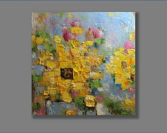 Abstract  Painting Sunflower Painting Oil Painting Flower Painting Gift For Her Abstract Artworks Modern, Palette Knife 12x12