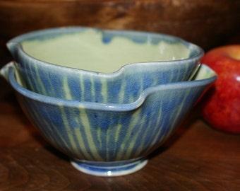 Ceramic Dessert Bowls /  Blue  Green / Stripes / Cereal Bowls / Porcelain