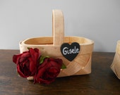 PERSONALIZED AND CUSTOMIZED Small Woven Flower Girl Basket with Chalkboard or Wood Tag and Your Choice of Flowers