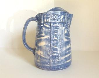 Vintage 1970's Ceramic Blue Jeans Novelty Pitcher Signed & Dated 1978 Sittre Ceramic Prod.