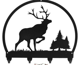 Elk Wildlife Caribou Black Metal Key Chain Holder Hanger