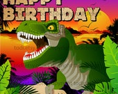 Jungle Dinosaur  Backdrop Design - PERSONALIZED Birthday party