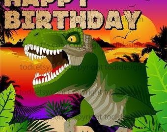 Jungle Dinosaur  Backdrop Design - PERSONALIZED Birthday party