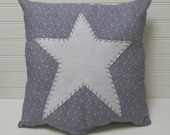 UNSTUFFED Primitive Pillow Cover Blue Calico Floral Barn Star Prim Country Home Decor Decoration Stitchery Cottage Chic Style wvluckygirl