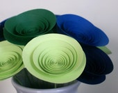 Green and Blue Paper Flowers, Modern Summer Bouquet in Royal Blue, Navy, Emerald, and Spring Green