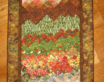 Sunset in Tahoe Art Quilt Fabric Wallhanging Landscape Quilt Wall Art Quilt Fall Flowers Trees Stream Pink Sunset Mountain Cabin Lodge Decor