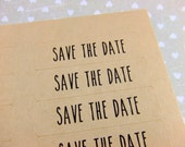 80 Save The Date Kraft Brown Labels - 0.5 x 1.75 Inch Rectangle Stickers