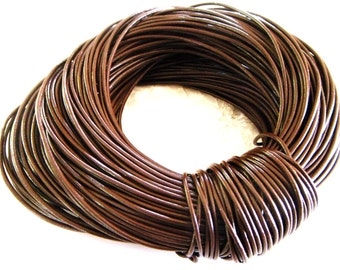 1,5mm Dark Brown Genuine Round Leather Cord, Chocolate Brown Greek High Quality Leather Cord- 2 Yards /1,85 m approx.