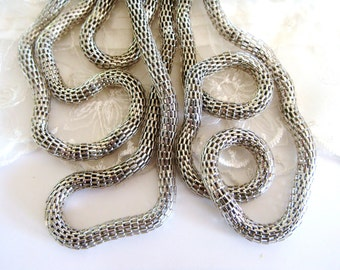 Rhodium Plated Chain Steel Net 6mm Round Chain ideal for Bracelets or Necklaces- Sold in  7 1/2 inches/19cm (1 piece)