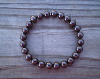 Swarovski Pearl Stretch Bracelet in Deep Brown