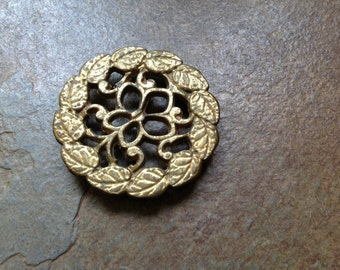 Vintage Solid Brass Trivet - Footed - heavy Brass