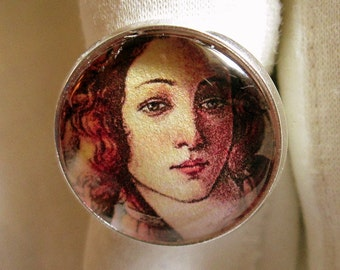 CLEARANCE Venus de Medici Three Fourths Inch Diameter Glass Cameo Ring on Silver Adjustable Setting