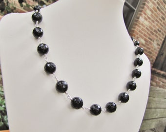 Black Faceted Spinel, Obsidian, Sterling Silver, Wire Wrapped Necklace