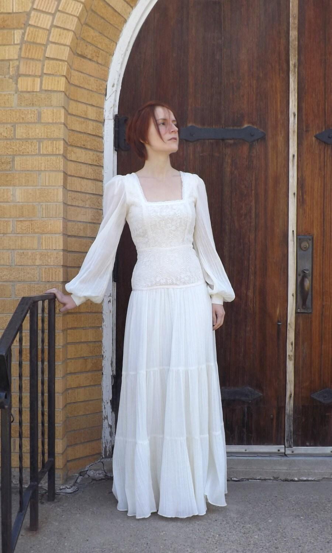 Vintage 70s Gunne Sax Dress Ivory Prairie Hippie Wedding