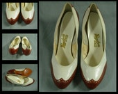 60s Vintage Shoe  / Vintage Hannahsons White and Tan Leather / Dance Shoe