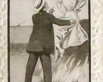 Antique romantic postcard Victorian romance romantic couple
