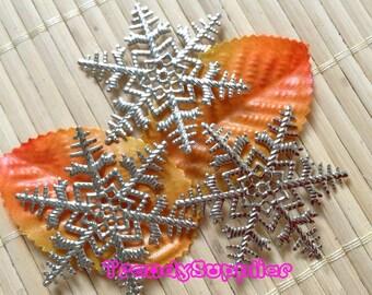 10 Pcs, Silver Plated Snowflake Filigree Charm